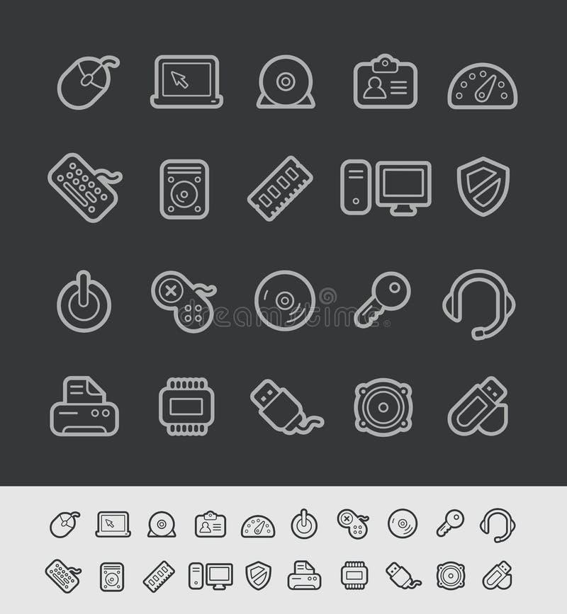 Μαύρη σειρά γραμμών του //εικονιδίων υπολογιστών διανυσματική απεικόνιση