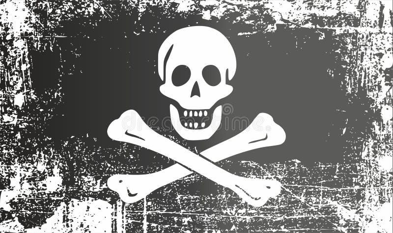 Μαύρη σημαία πειρατών με ένα ανθρώπινο κρανίο και τα κόκκαλα, ευχάριστα Ρότζερ Ζαρωμένα βρώμικα σημεία ελεύθερη απεικόνιση δικαιώματος