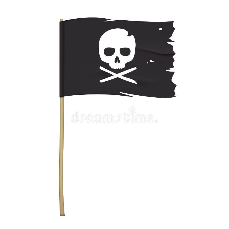 Μαύρη σημαία πειρατών με το σύμβολο κρανίων απεικόνιση αποθεμάτων