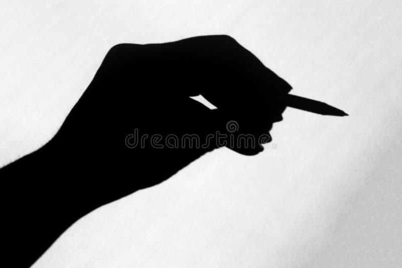 μαύρη σκιά από το χέρι στοκ φωτογραφία