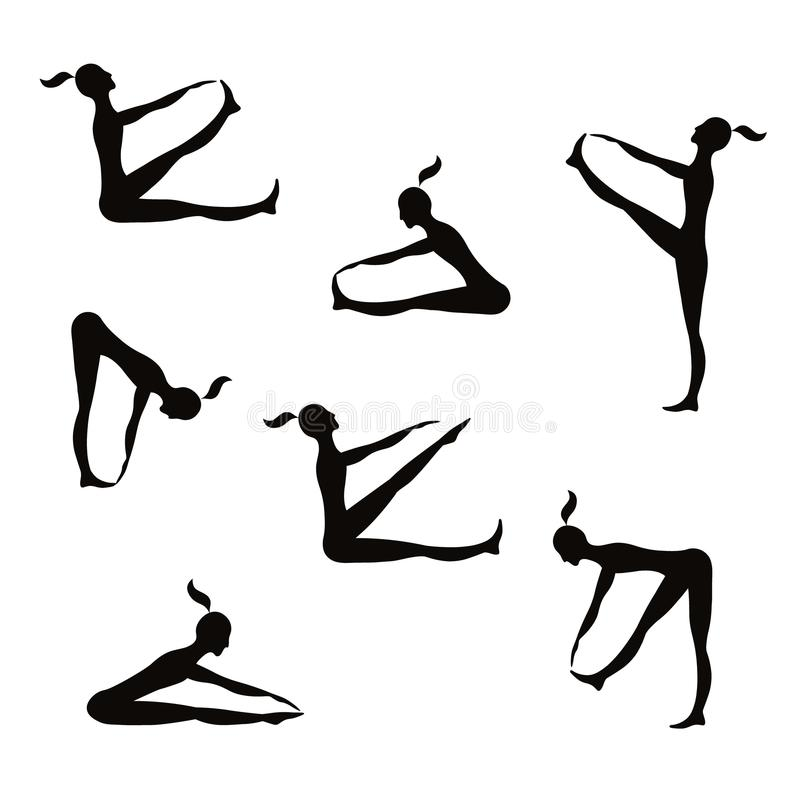 Μαύρη σκιαγραφία αθλητριών διάνυσμα εικόνων απεικονίσεων αποκριών ελεύθερη απεικόνιση δικαιώματος