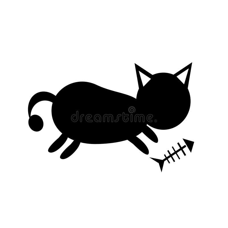 Μαύρη σκιαγραφία γατών για την τυπωμένη ύλη μπλουζών διανυσματική απεικόνιση