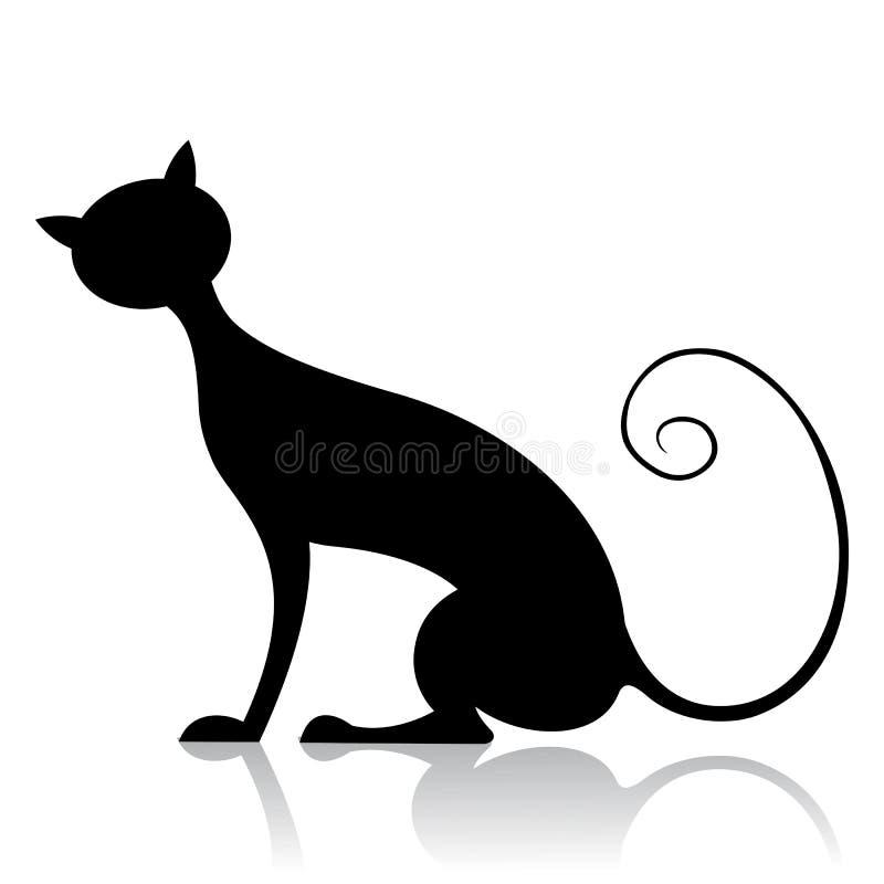 μαύρη σκιαγραφία γατών διανυσματική απεικόνιση