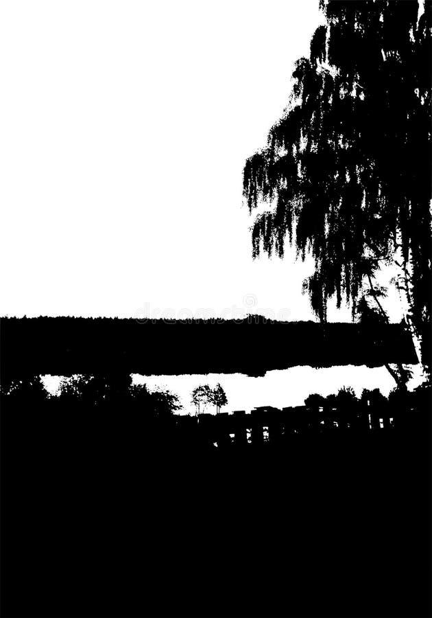 Μαύρη σκιαγραφία δέντρων, δασών και ποταμών Κάρτα με το διάστημα αντιγράφων o Διανυσματική απεικόνιση φύσης απεικόνιση αποθεμάτων