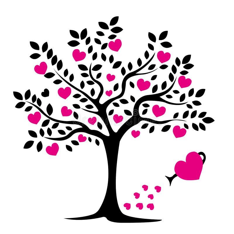 Μαύρη σκιαγραφία δέντρων με τα φύλλα και τις ρόδινες καρδιές απομονωμένο διάφορο διάνυσμα δέντρων σημαδιών αντικειμένου αγάπης λο απεικόνιση αποθεμάτων