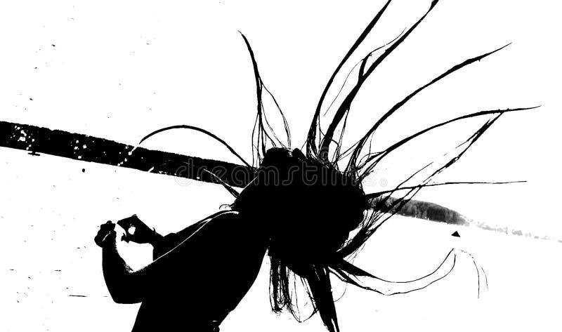 Μαύρη σκιαγραφία ενός κοριτσιού στοκ φωτογραφία με δικαίωμα ελεύθερης χρήσης
