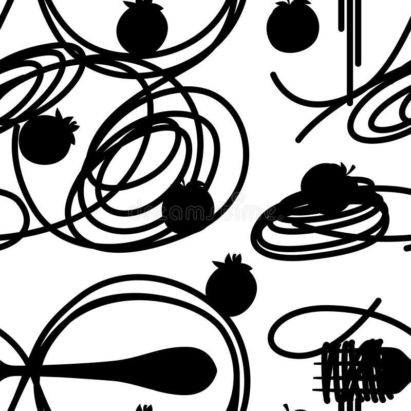 Μαύρη σκιαγραφία Ιταλικά μακαρόνια ζυμαρικών τροφίμων με τις ντομάτες r Επίπεδη διανυσματική απεικόνιση στο άσπρο υπόβαθρο o απεικόνιση αποθεμάτων