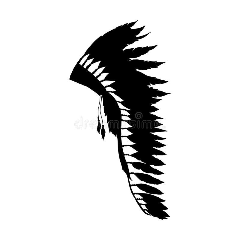 Μαύρη σκιαγραφία καπέλων φτερών Warbonnet, εξάρτημα μόδας διανυσματική απεικόνιση