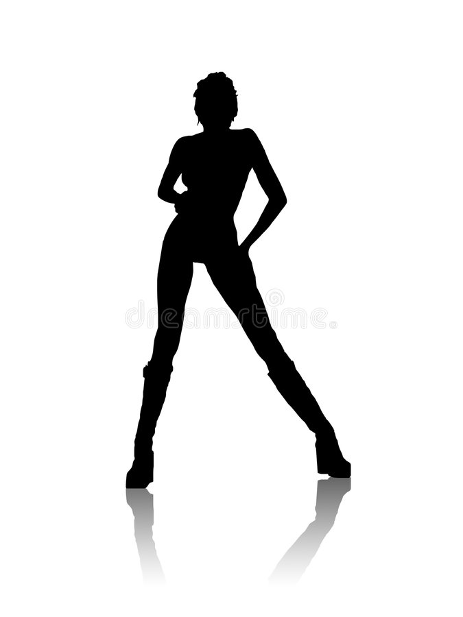 μαύρη σκιαγραφία κοριτσιώ& διανυσματική απεικόνιση