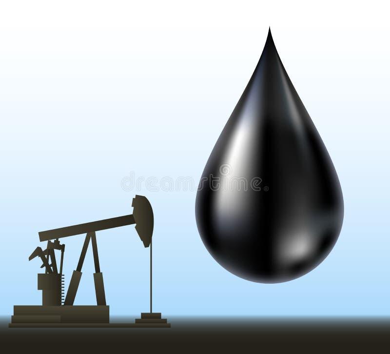 Μαύρη σκιαγραφία πτώσης και τρυπανιών πετρελαίου ελεύθερη απεικόνιση δικαιώματος