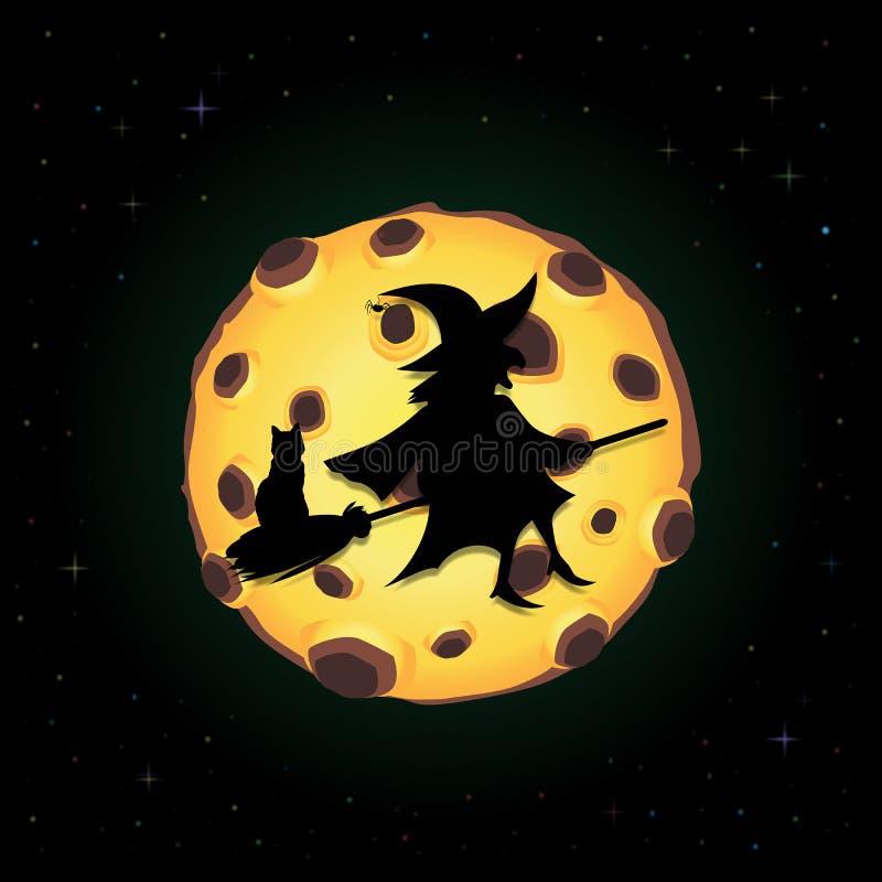 Μαύρη σκιαγραφία της μάγισσας στο σκουπόξυλο με τη γάτα που πετά στο υπόβαθρο νυχτερινού ουρανού με το πλήρες κίτρινο φεγγάρι διανυσματική απεικόνιση