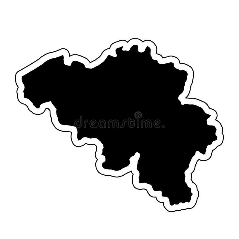 Μαύρη σκιαγραφία της χώρας Βέλγιο με τη γραμμή περιγράμματος Ε απεικόνιση αποθεμάτων