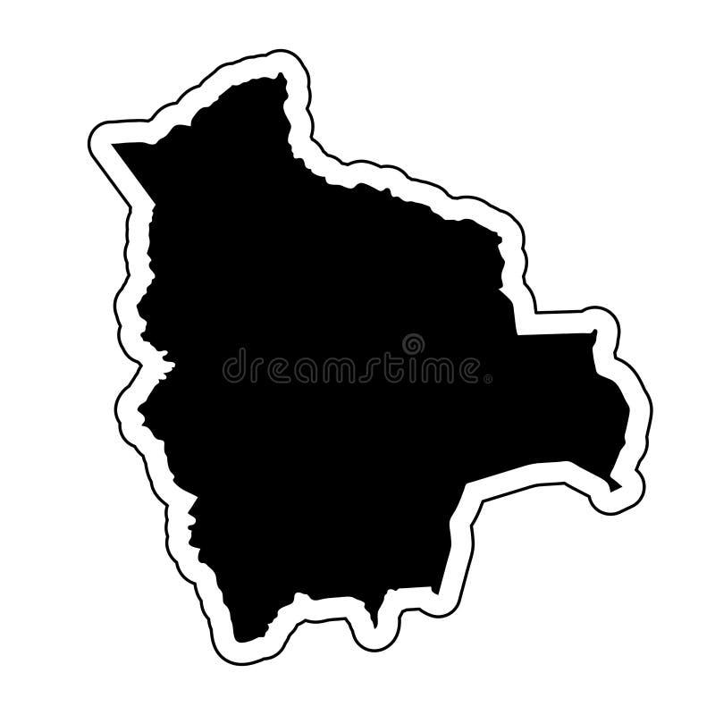 Μαύρη σκιαγραφία της χώρας Βολιβία με τη γραμμή περιγράμματος ή διανυσματική απεικόνιση