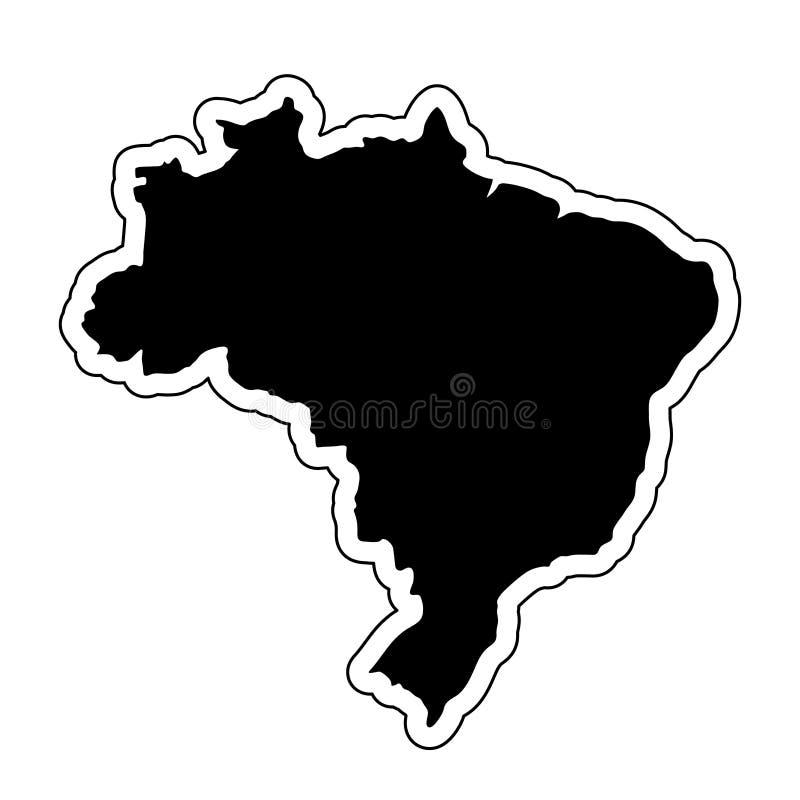 Μαύρη σκιαγραφία της χώρας Βραζιλία με τη γραμμή περιγράμματος EF ελεύθερη απεικόνιση δικαιώματος