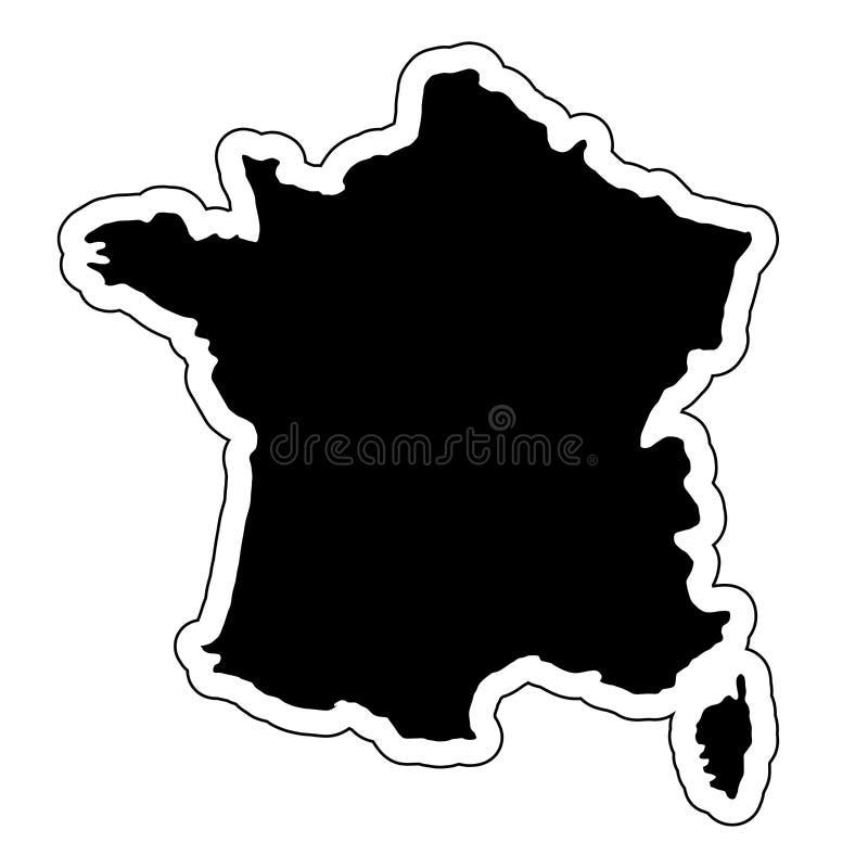 Μαύρη σκιαγραφία της χώρας Γαλλία με τη γραμμή περιγράμματος EF ελεύθερη απεικόνιση δικαιώματος