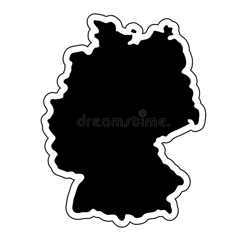 Μαύρη σκιαγραφία της χώρας Γερμανία με τη γραμμή περιγράμματος Ε διανυσματική απεικόνιση