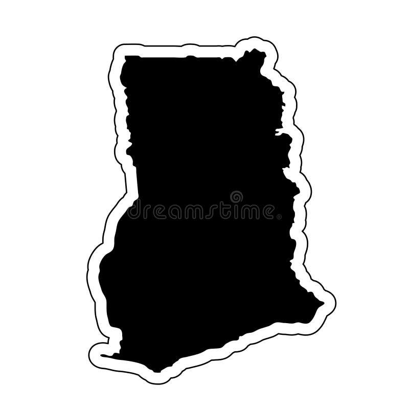 Μαύρη σκιαγραφία της χώρας Γκάνα με τη γραμμή περιγράμματος ή το φ ελεύθερη απεικόνιση δικαιώματος