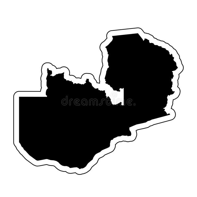 Μαύρη σκιαγραφία της χώρας Ζάμπια με τη γραμμή περιγράμματος ή διανυσματική απεικόνιση