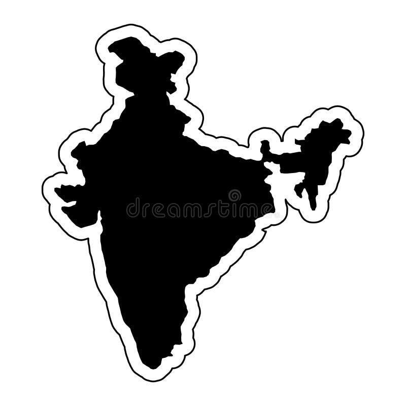 Μαύρη σκιαγραφία της χώρας Ινδία με τη γραμμή περιγράμματος ή το φ ελεύθερη απεικόνιση δικαιώματος