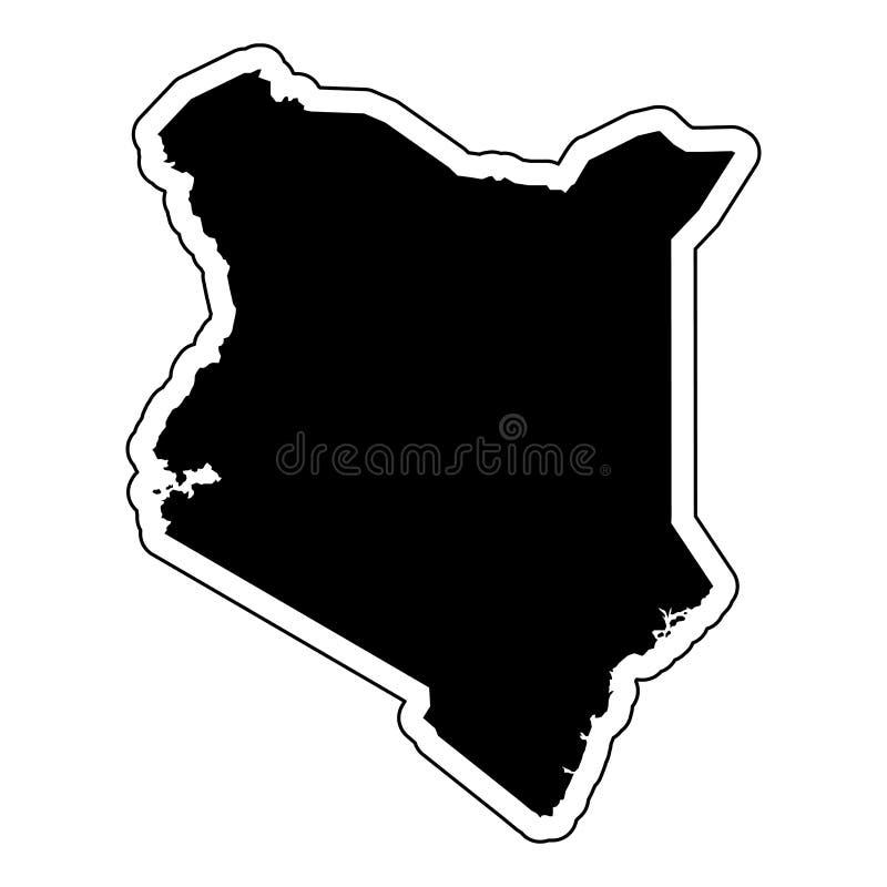 Μαύρη σκιαγραφία της χώρας Κένυα με τη γραμμή περιγράμματος ή το φ διανυσματική απεικόνιση