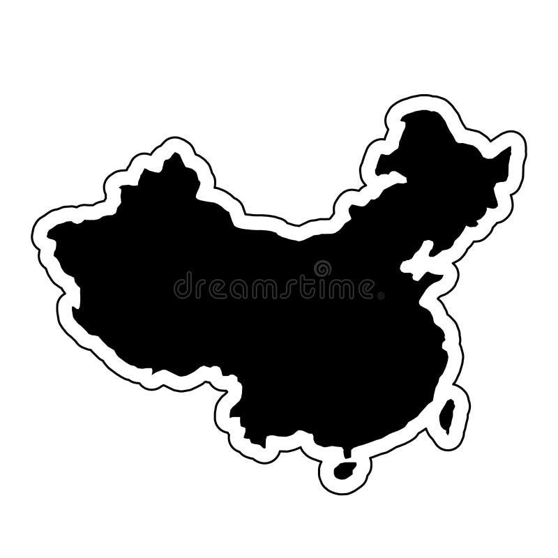 Μαύρη σκιαγραφία της χώρας Κίνα με τη γραμμή περιγράμματος ή το φ ελεύθερη απεικόνιση δικαιώματος