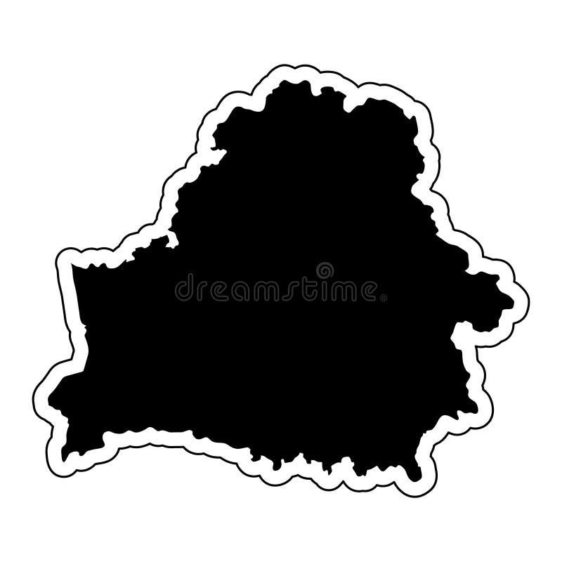 Μαύρη σκιαγραφία της χώρας Λευκορωσία με τη γραμμή περιγράμματος ή ελεύθερη απεικόνιση δικαιώματος