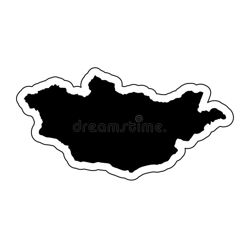 Μαύρη σκιαγραφία της χώρας Μογγολία με τη γραμμή ο περιγράμματος διανυσματική απεικόνιση