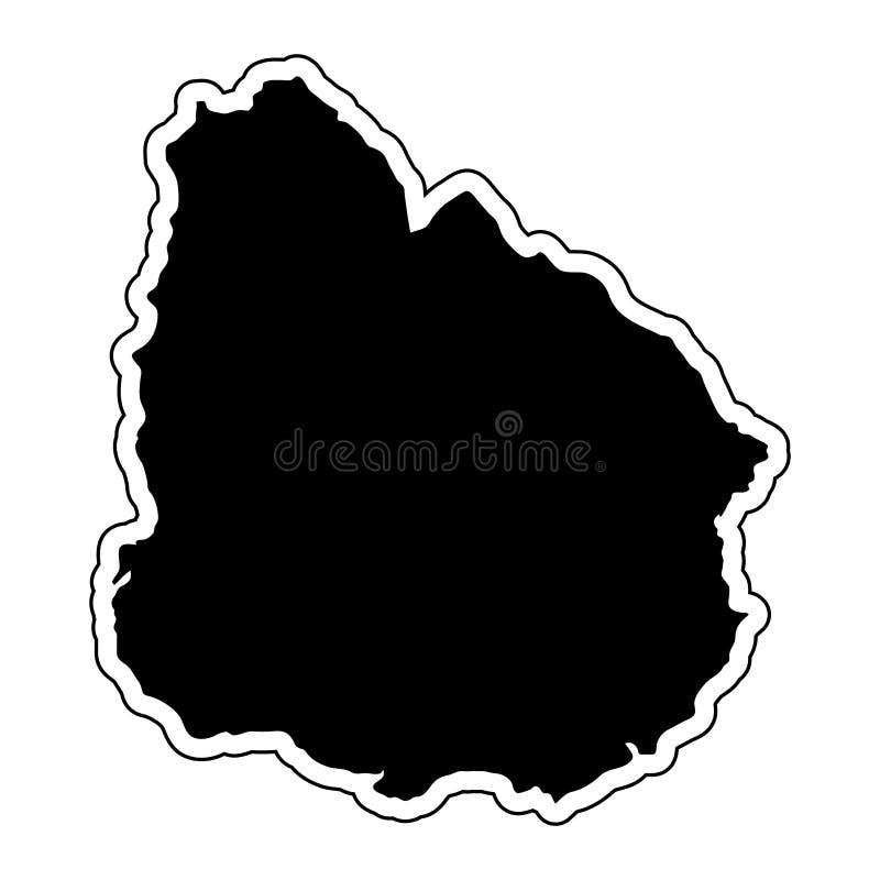 Μαύρη σκιαγραφία της χώρας Ουρουγουάη με τη γραμμή περιγράμματος Ε ελεύθερη απεικόνιση δικαιώματος