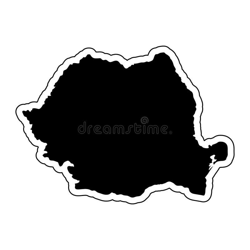 Μαύρη σκιαγραφία της χώρας Ρουμανία με τη γραμμή περιγράμματος ή διανυσματική απεικόνιση
