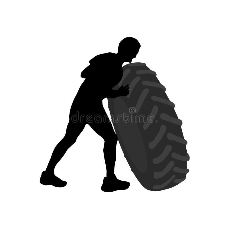 Μαύρη σκιαγραφία του αθλητικού μεγάλου βαριού ελαστικού αυτοκινήτου φροντίδας ατόμων ελεύθερη απεικόνιση δικαιώματος