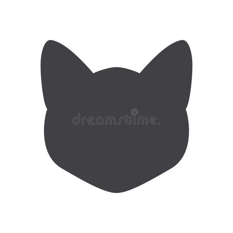 Μαύρη σκιαγραφία του κεφαλιού γατών σε ένα άσπρο υπόβαθρο επίσης corel σύρετε το διάνυσμα απεικόνισης απεικόνιση αποθεμάτων