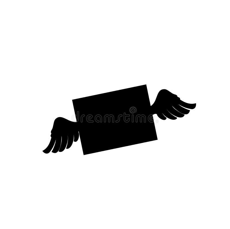 Μαύρη σκιαγραφία του κλειστού φακέλου με τα φτερά απεικόνιση αποθεμάτων