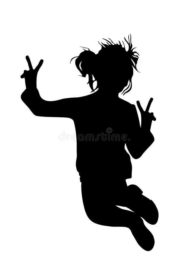 Μαύρη σκιαγραφία του λίγο χαρούμενου κοριτσιού σε ένα άσπρο υπόβαθρο που πηδά επάνω ελεύθερη απεικόνιση δικαιώματος