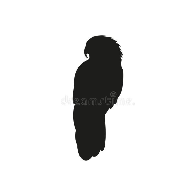 Μαύρη σκιαγραφία του παπαγάλου σε ένα άσπρο υπόβαθρο διανυσματική απεικόνιση