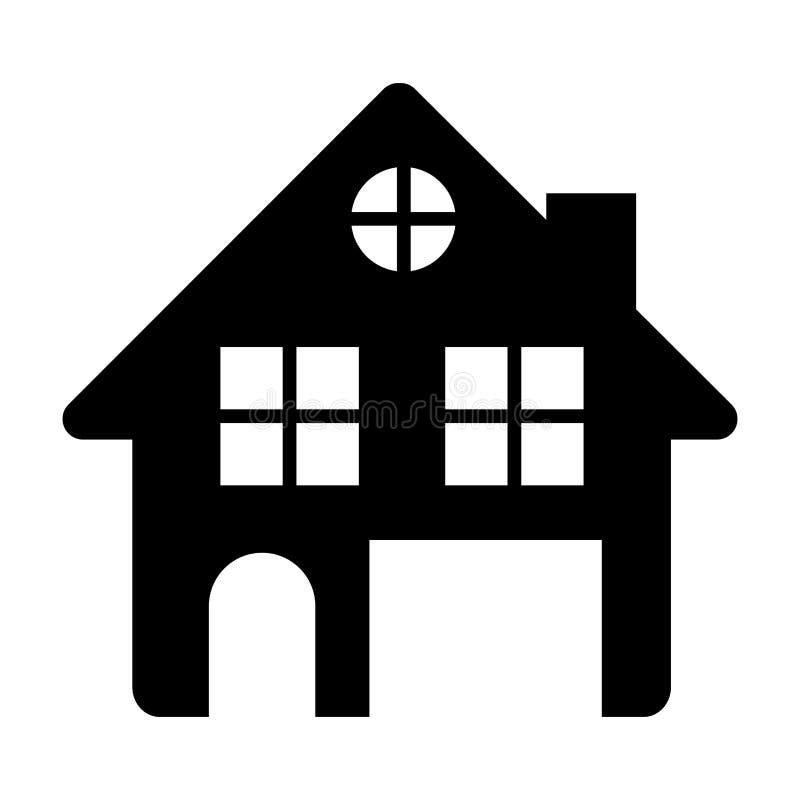 μαύρη σκιαγραφία του σπιτιού δύο πατώματα και σοφίτα στο άσπρο υπόβαθρο διανυσματική απεικόνιση