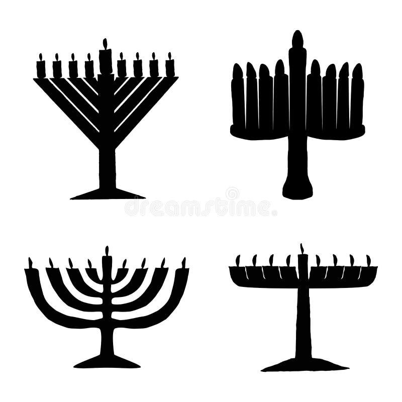 Μαύρη σκιαγραφία του συνόλου Chanukiah hanukkah διακοπές εβραϊκές Διανυσματική απεικόνιση στο απομονωμένο υπόβαθρο απεικόνιση αποθεμάτων
