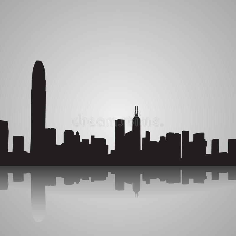 Μαύρη σκιαγραφία του Χονγκ Κονγκ με την αντανάκλαση επίσης corel σύρετε το διάνυσμα απεικόνισης διανυσματική απεικόνιση