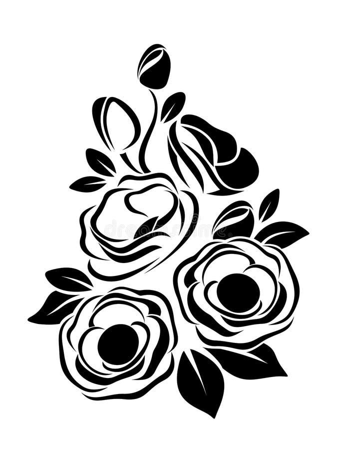 Μαύρη σκιαγραφία των λουλουδιών anemone. απεικόνιση αποθεμάτων