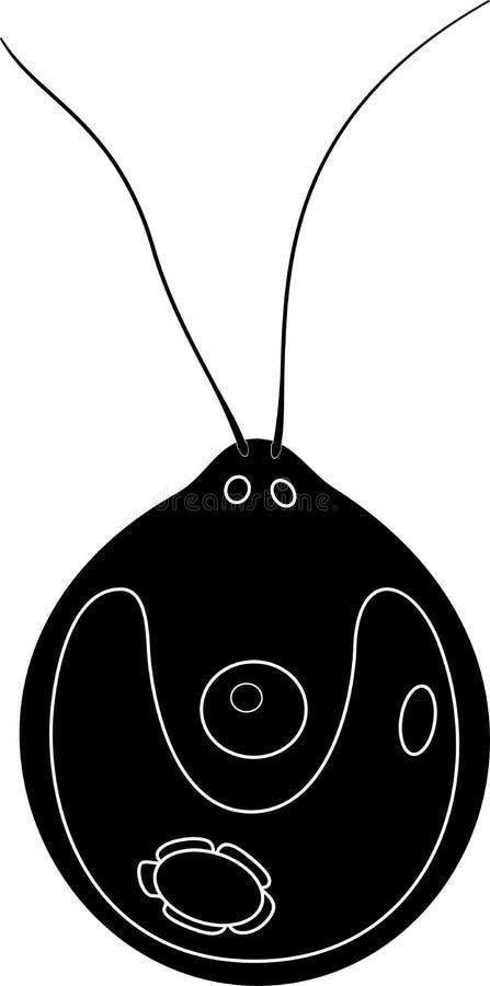 Μαύρη σκιαγραφία Chlamydomonas του κυττάρου στοκ φωτογραφία