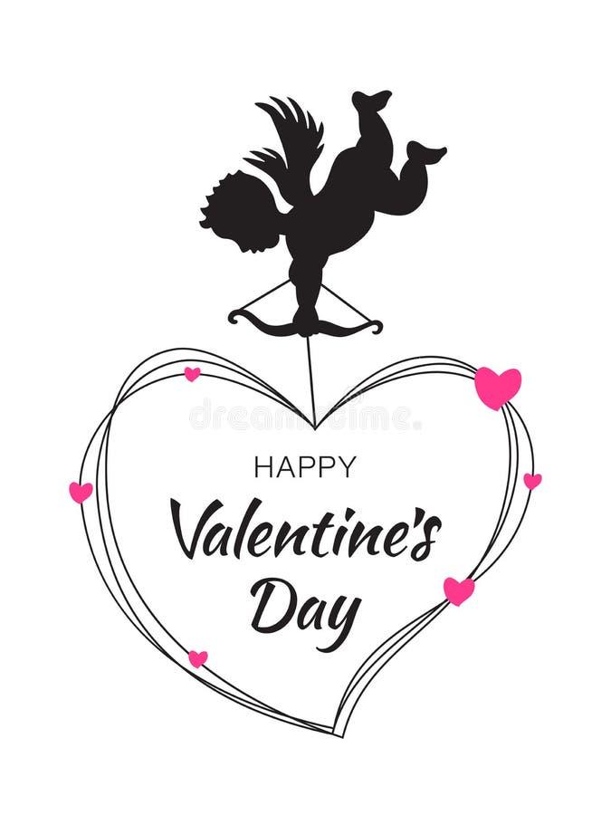 Μαύρη σκιαγραφία Cupid με την καρδιά τόξων και βελών στο άσπρο υπόβαθρο Σχέδιο ημέρας βαλεντίνων Πετώντας καρδιές αγγέλου _ διανυσματική απεικόνιση