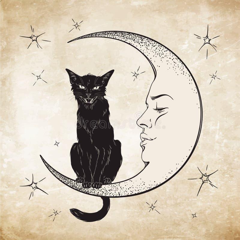 Μαύρη συνεδρίαση γατών στο φεγγάρι Γνωστό διάνυσμα πνευμάτων Wiccan διανυσματική απεικόνιση