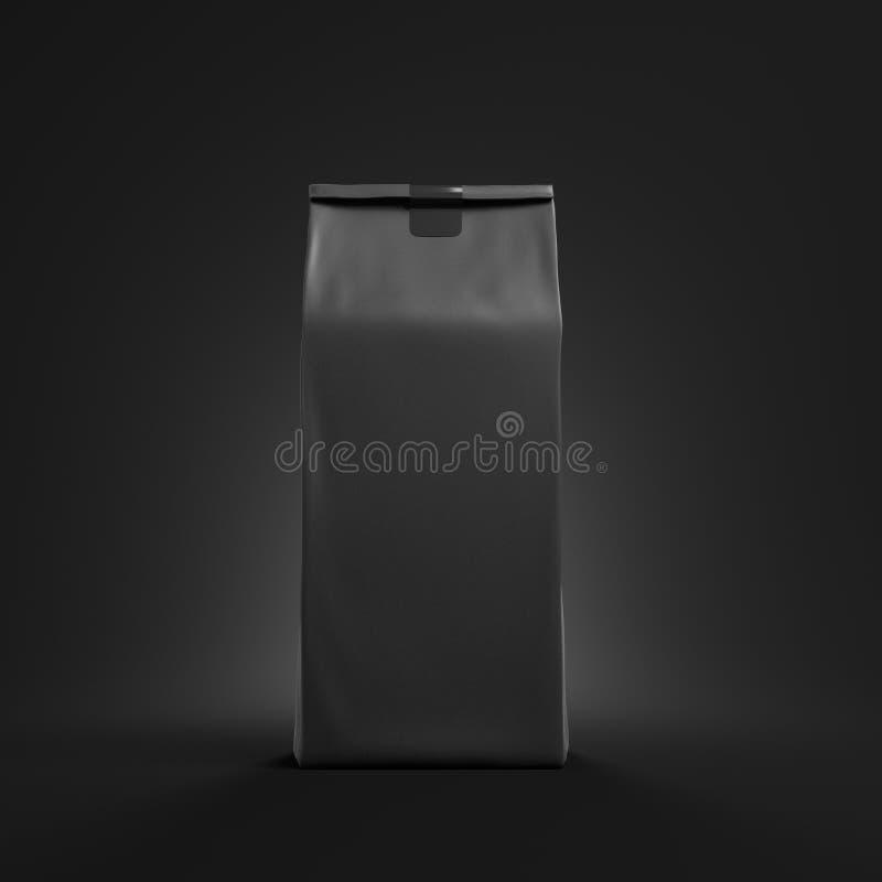 Μαύρη συσκευασία τσαντών τσαγιού ή καφέ διανυσματική απεικόνιση