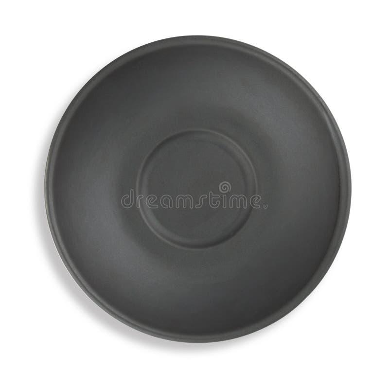 Μαύρη τοπ άποψη πιάτων στοκ εικόνα με δικαίωμα ελεύθερης χρήσης