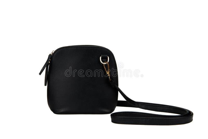 μαύρη τσάντα που απομονώνεται στο άσπρο υπόβαθρο με το ψαλίδισμα της πορείας στοκ φωτογραφίες