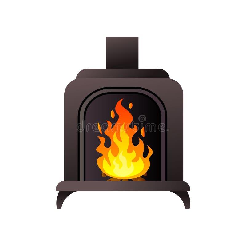 Μαύρη υλική εστία μετάλλων με το σωλήνα με το κάψιμο της πυρκαγιάς διανυσματική απεικόνιση