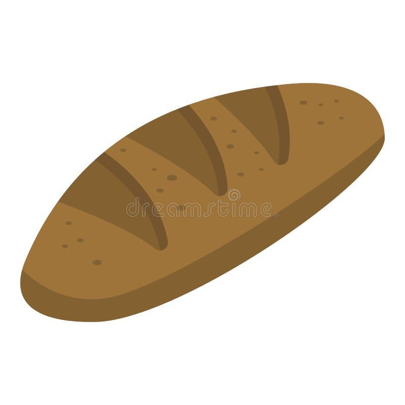 Μαύρη φραντζόλα του εικονιδίου ψωμιού, isometric ύφος ελεύθερη απεικόνιση δικαιώματος