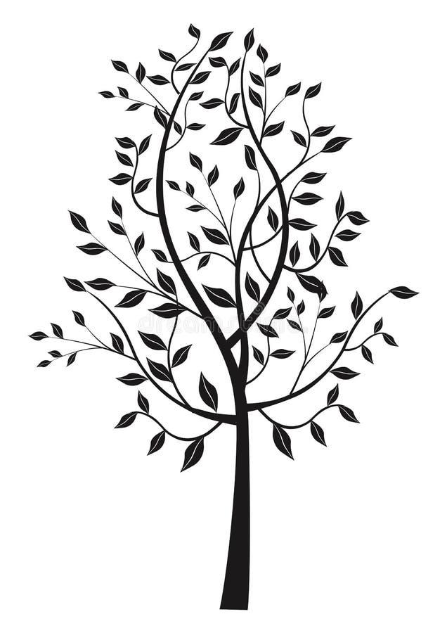 Μαύρη φυλλώδης σκιαγραφία δέντρων διανυσματική απεικόνιση