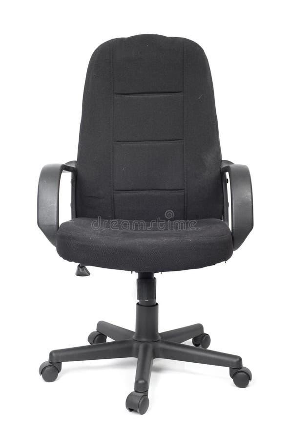 Μαύρη χρησιμοποιημένη υφαντική καρέκλα γραφείων στοκ φωτογραφία με δικαίωμα ελεύθερης χρήσης