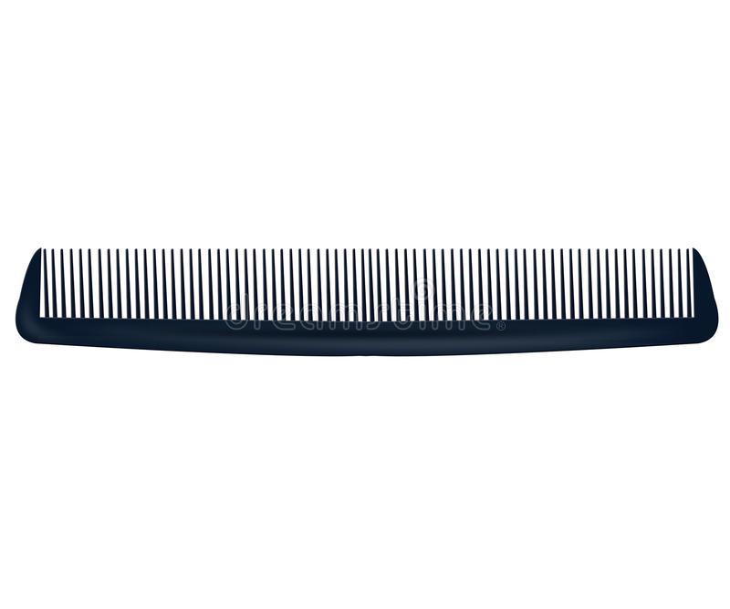 Μαύρη χτένα που απομονώνεται σε ένα άσπρο υπόβαθρο Μαύρη βούρτσα γηα τα μαλλιά διανυσματική απεικόνιση