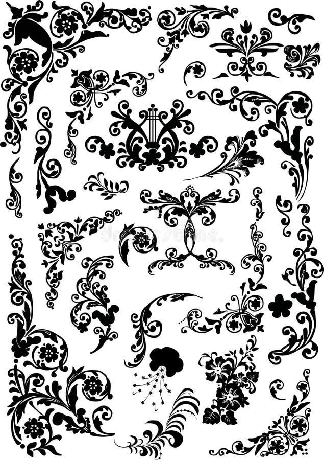 μαύρη floral διακόσμηση μπουκλών διανυσματική απεικόνιση